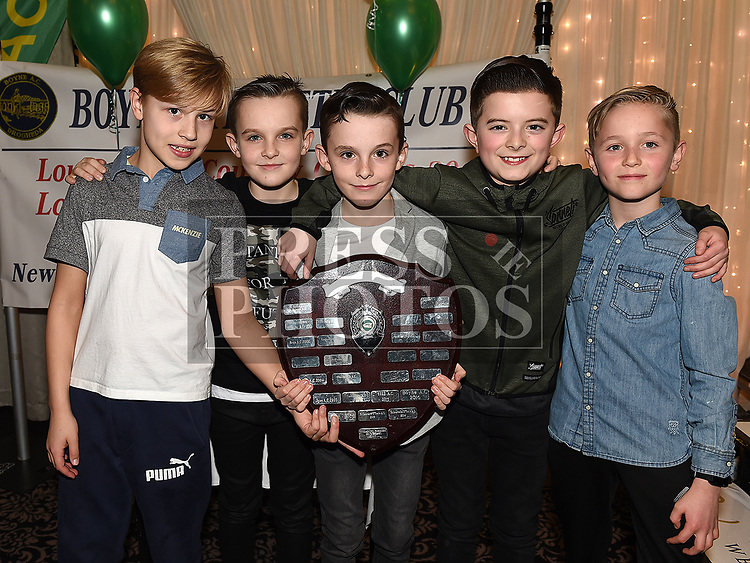 Oliver Carolan, Tadhg Forde Dunne, Lorcan Forde Dunne, Dara Pewters and Alex Robertson at the Boyne AC awards night in the Westcourt Hotel. Photo:Colin Bell/pressphotos.ie
