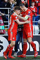 Daniel James of Wales celebrates his goal with Gareth Bale during the UEFA EURO 2020 Qualifier match between Wales and Slovakia at the Cardiff City Stadium, Cardiff, Wales, UK. Sunday 24 March 2019