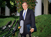 United States President George H.W. Bush holds a press conference in the Rose Garden of the White House in Washington, D.C. following his first day of summit talks with Soviet President Mikhail Gorbachev on May 31, 1990.<br /> Credit: Ron Sachs / CNP