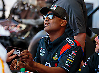 Jun 1, 2018; Joliet, IL, USA; NHRA top fuel driver Antron Brown during qualifying for the Route 66 Nationals at Route 66 Raceway. Mandatory Credit: Mark J. Rebilas-USA TODAY Sports
