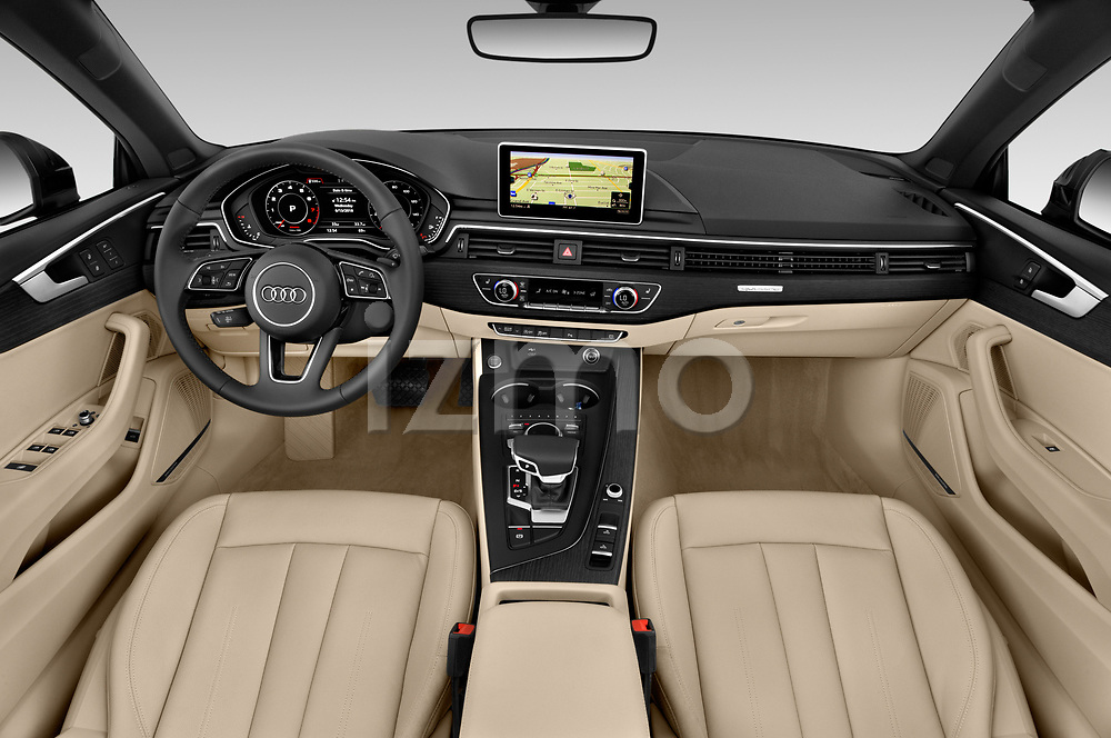 Stock photo of straight dashboard view of a 2018 Audi A5 Cabriolet Premium Plus 2 Door Convertible