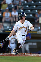 Bradenton Marauders first baseman Jordan Steranka (25) at bat during a game against the St. Lucie Mets on April 11, 2015 at McKechnie Field in Bradenton, Florida.  St. Lucie defeated Bradenton 3-2.  (Mike Janes/Four Seam Images)