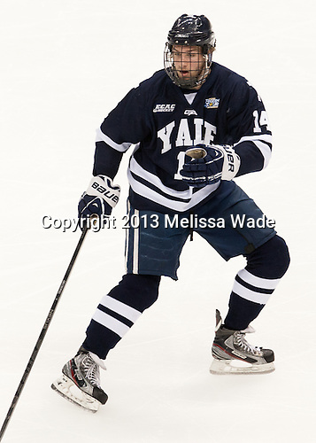 Ryan Obuchowski (Yale - 14) - The Yale University Bulldogs defeated the Quinnipiac University Bobcats 4-0 in the 2013 Frozen Four final to win the national championship on Saturday, April 13, 2013, at the Consol Energy Center in Pittsburgh, Pennsylvania.