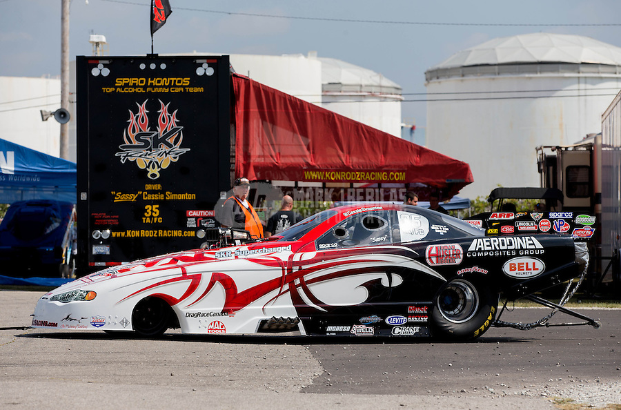 Aug. 30, 2013; Clermont, IN, USA: NHRA top alcohol funny car driver Cassie Simonton during qualifying for the US Nationals at Lucas Oil Raceway. Mandatory Credit: Mark J. Rebilas-USA TODAY Sports