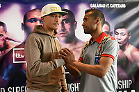 Lee Selby (L) and Jonathan Victor Barros during a Press Conference at the Sky Bar, Hilton Hotel on 13th July 2017