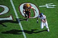 Nov. 28, 2009; Tempe, AZ, USA; Arizona State Sun Devils linebacker (44) Travis Goethel chases Arizona Wildcats wide receiver (19) William Wright at Sun Devil Stadium. Arizona defeated Arizona State 20-17. Mandatory Credit: Mark J. Rebilas-