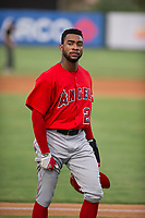 AZL Angels designated hitter Jordon Adell (25) walks to the dugout between innings during a game against the AZL Giants on July 9, 2017 at Diablo Stadium in Tempe, Arizona. AZL Giants defeated the AZL Angels 8-4. (Zachary Lucy/Four Seam Images)