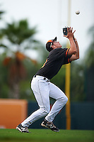 GCL Orioles shortstop Ryan Mountcastle (43) catches a pop up during the first game of a doubleheader against the GCL Rays on August 1, 2015 at the Ed Smith Stadium in Sarasota, Florida.  GCL Orioles defeated the GCL Rays 2-0.  (Mike Janes/Four Seam Images)