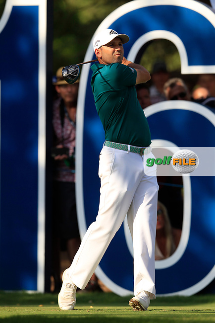 Sergio Garcia (ESP) on the 16th tee during the final round of the DP World Tour Championship, Jumeirah Golf Estates, Dubai, United Arab Emirates. 18/11/2018<br /> Picture: Golffile | Fran Caffrey<br /> <br /> <br /> All photo usage must carry mandatory copyright credit (&copy; Golffile | Fran Caffrey)