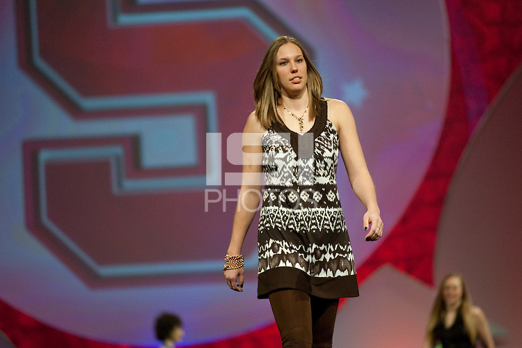 INDIANAPOLIS, IN - APRIL 1, 2011: Kayla Pedersen enjoys the festivities at the Cirque du Salute at the Indianapolis Convention Center at Tourney Town during the NCAA Final Four in Indianapolis, IN on April 1, 2011.