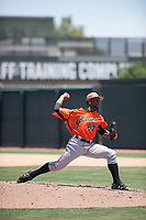 San Francisco Giants Orange relief pitcher Yoel Veras (67) delivers a pitch during an Extended Spring Training game against the Oakland Athletics at the Lew Wolff Training Complex on May 29, 2018 in Mesa, Arizona. (Zachary Lucy/Four Seam Images)