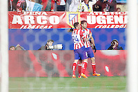 Atletico de Madrid´s Diego Costa celebrates a goal with Sosa during 16th Champions League soccer match at Vicente Calderon stadium in Madrid, Spain. March 11, 2014. (ALTERPHOTOS/Victor Blanco)