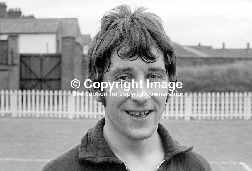 Terry Nicholson, footballer, Crusaders FC, Belfast, N Ireland, July 1967,  196707000015, <br /> <br /> Copyright Image from Victor Patterson, 54 Dorchester Park, Belfast, UK, BT9 6RJ<br /> <br /> t1: +44 28 9066 1296 (from Rep of Ireland 048 9066 1296)<br /> t2: +44 28 9002 2446 (from Rep of Ireland 048 9002 2446)<br /> m: +44 7802 353836<br /> <br /> e1: victorpatterson@me.com<br /> e2: victorpatterson@gmail.com<br /> <br /> The use of my copyright images is subject to my Terms &amp; Conditions.<br /> <br /> It is IMPORTANT that you familiarise yourself with them. They are available on my website at www.victorpatterson.com.<br /> <br /> None of my copyright images may be used on a website unless they are visibly watermarked, i.e. &copy; Victor Patterson within the body of the visible image. Metadata denoting my copyright must NOT be deleted. <br /> <br /> Web use is extra at currently recommended NUJ rates.