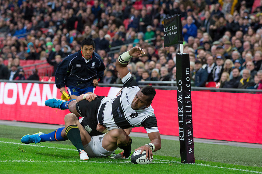 Taqele Naiyaravoro of the Barbarians scores his sides third try         Photographer Craig Mercer/CameraSport<br /> <br /> International Rugby Union Friendly - Barbarians v South Africa - Saturday 5th November 2016 - Wembley Stadium - London<br /> <br /> World Copyright &copy; 2016 CameraSport. All rights reserved. 43 Linden Ave. Countesthorpe. Leicester. England. LE8 5PG - Tel: +44 (0) 116 277 4147 - admin@camerasport.com - www.camerasport.com