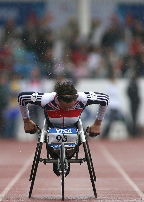 Photo: Paul Thomas..VISA Paralympic World Cup 2007. Athletics. 13/05/2007...Dame Tanni Grey-Thompson of Great Britain finishes her last race before retirement.