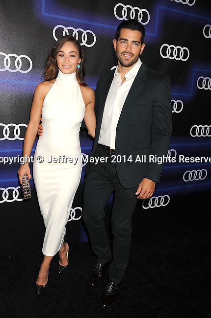 LOS ANGELES, CA- AUGUST 21: Actors Cara Santana (L) and Jesse Metcalfe arrive at the Audi Emmy Week Celebration at Cecconi's Restaurant on August 21, 2014 in Los Angeles, California.