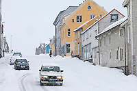 Volvo with winter tyres driving in snowy conditions in Tromso within the Arctic Circle in Northern Norway