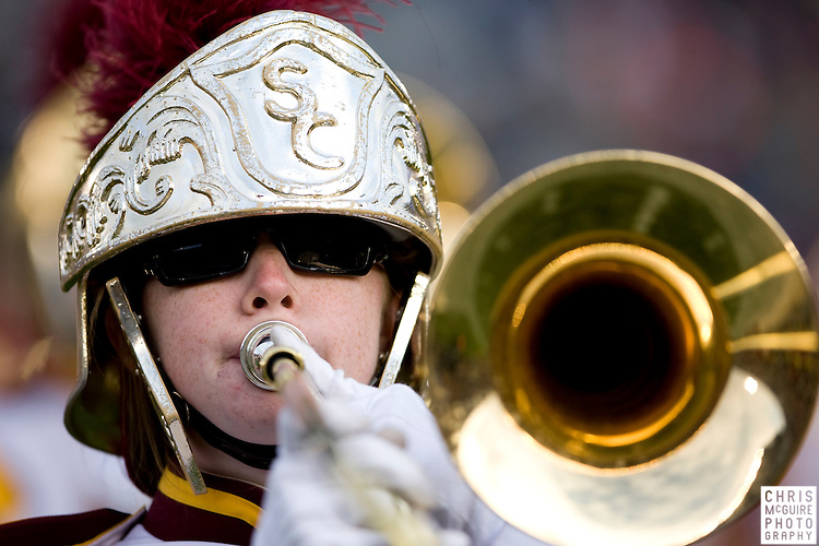 10/17/09 - South Bend, IN:  The USC Trojan Marching Band performs during halftime at Notre Dame Stadium on Saturday.  USC won the game 34-27 to extend its win streak over Notre Dame to 8 games.  Photo by Christopher McGuire.