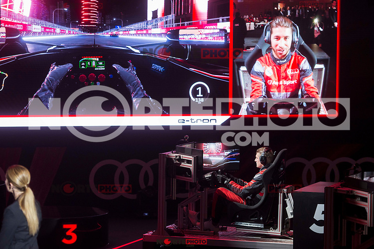 Sergio Ramos and Toni Kroos of Real Madrid CF races in his simulated Formula-e car during a race with his teammates during the Audi Handover Sponsorship deal with Real Madrid at the Ciudad Deportivo training grounds in Madrid, Spain. November 23, 2017. (ALTERPHOTOS/Borja B.Hojas) /NortePhoto.com NORTEPHOTOMEXICO
