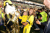 Columbus Crew mascot and Frankie Hejduk during MLS Cup 2008. Columbus Crew defeated the New York Red Bulls, 3-1, Sunday, November 23, 2008. Photo by John Todd/isiphotos.com