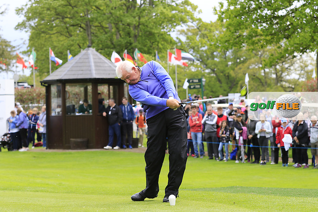 Gerry McIlroy tees off the 1st tee during Wednesday's Pro-Am of the 2016 Dubai Duty Free Irish Open hosted by Rory Foundation held at the K Club, Straffan, Co.Kildare, Ireland. 18th May 2016.<br /> Picture: Eoin Clarke | Golffile<br /> <br /> <br /> All photos usage must carry mandatory copyright credit (&copy; Golffile | Eoin Clarke)