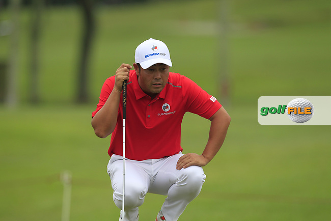 Hideto Tanihara (Asia) on the 1st green during the Singles Matches of the Eurasia Cup at Glenmarie Golf and Country Club on the Sunday 14th January 2018.<br /> Picture:  Thos Caffrey / www.golffile.ie