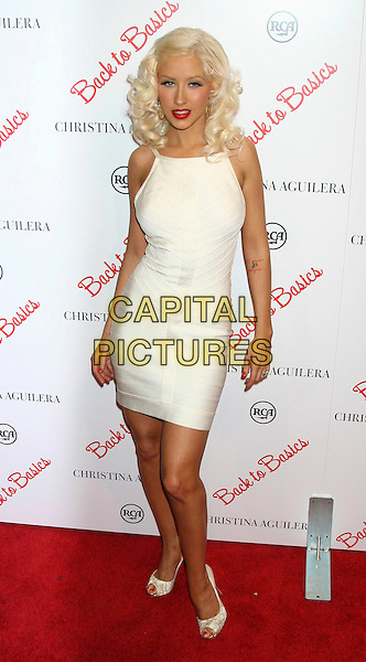 "CHRISTINA AGUILERA.Arrives to her new CD ""Back to Basics"" listening party at the Marquee in New York City, NY, USA..August 15th, 2006.Ref: IW.full length white dress peep toe.www.capitalpictures.com.sales@capitalpictures.com.©Ian Wilson/Capital Pictures"