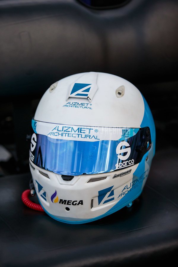 Aug 31, 2018; Clermont, IN, USA; Detailed view of the helmet of NHRA pro stock driver Shane Tucker during qualifying for the US Nationals at Lucas Oil Raceway. Mandatory Credit: Mark J. Rebilas-USA TODAY Sports