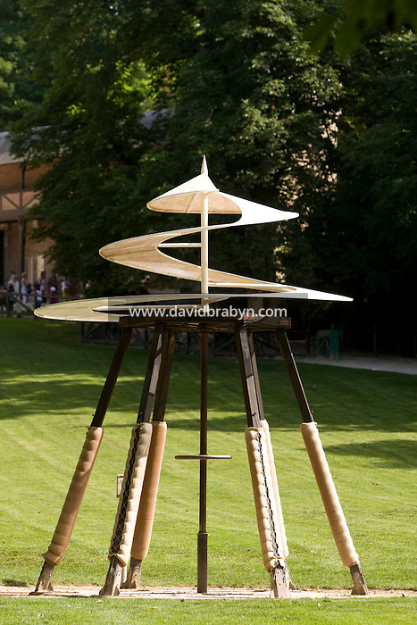 View of a replica of Leonardo da Vinci's propeller prototype on display in the gardens of the Clos Luce mansion, the inventor's last home, in Amboise, France, 26 June 2008.