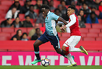 Blackpool U18's Nana Adarkwa gets past Arsenal U18's Dominic Thompson<br /> <br /> Photographer Andrew Kearns/CameraSport<br /> <br /> Emirates FA Youth Cup Semi- Final Second Leg - Arsenal U18 v Blackpool U18 - Monday 16th April 2018 - Emirates Stadium - London<br />  <br /> World Copyright &copy; 2018 CameraSport. All rights reserved. 43 Linden Ave. Countesthorpe. Leicester. England. LE8 5PG - Tel: +44 (0) 116 277 4147 - admin@camerasport.com - www.camerasport.com