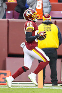 Landover, MD - December 9, 2018: Washington Redskins wide receiver Jamison Crowder (80) scores a touchdown during the  game between New York Giants and Washington Redskins at FedEx Field in Landover, MD.   (Photo by Elliott Brown/Media Images International)