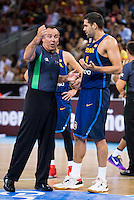 Spain's basketball playerFelipe Reyes talking with the referee during the  match of the preparation for the Rio Olympic Game at Madrid Arena. July 23, 2016. (ALTERPHOTOS/BorjaB.Hojas) /NORTEPHOTO.COM