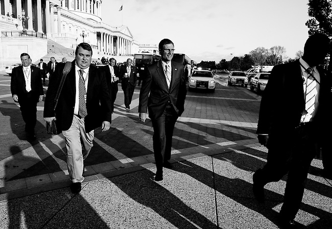 Having won his election contest against Rep. Dina Titus, Rep.-elect Joe Heck, R-Nev., arrives with other newly elected members of Congress and staff on the East Plaza for their ongoing freshman orientation sessions on Nov. 17, 2010. (Photo By Bill Clark/Roll Call)