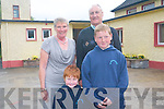 Glenbeigh National School held a retirement party for two of its teachers last week. .L-R Teacher Patricia Griffin and Principal Sean McGuillicuddy who are retiring this year with the youngest pupils and oldest pupils at the school Jamie O'Sullivan and Robert O'Connor