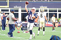 Thursday August 11, 2016: New England Patriots quarterback Jimmy Garoppolo (10) warms up prior to an NFL pre-season game between the New Orleans Saints and the New England Patriots held at Gillette Stadium in Foxborough Massachusetts. The Patriots defeat the Saints 34-22 in regulation time. Eric Canha/CSM