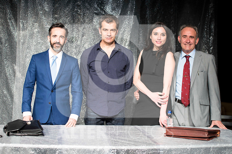 """Pepe Ocio, the director Toni Canto, Marta Flich and Philip Rogers during the theater play of """"Debate"""", the comeback to the teather of Toni Canto at Teatros del Canal in Madrid. May 03, 2016. (ALTERPHOTOS/Borja B.Hojas)"""
