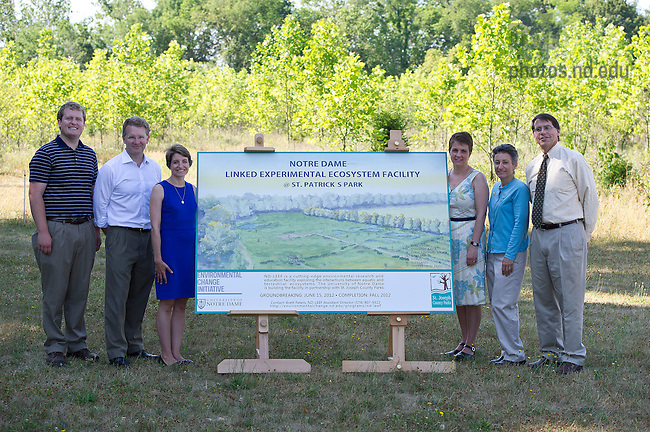 June 15, 2012; Groundbreaking event for the Notre Dame Linked Experimental Ecosystem Facility at St. Patrick's County Park. Photo by Barbara Johnston/University of Notre Dame