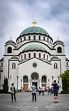 SERBIA, Belgrade, Tourist admiring Saint Sava Temple, Eastern Europe