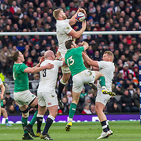 George Kruis claims the ball from a re-start, England v Ireland in a 6 Nations match at Twickenham Stadium, Whitton Road, Twickenham, England, on 27th February 2016