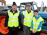Michael Sweeney, Pat and Tom Barron pictured at the tractor run in Dunleer in aid of SOSAD. Photo:Colin Bell/pressphotos.ie