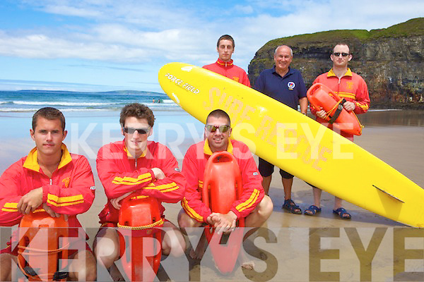KEEPING WATCH: Ballybunion lifeguards, just some of the 32 personnel on duty to protect people on Kerry's beaches this summer, front l-r: Diarmuid Kiely, Luke Brennan, Niall Hogan. Back l-r: Kyle O'Donovan, Brendan O'Connor (Water Safety Officer, Kerry County Council), Michael O'Connell.