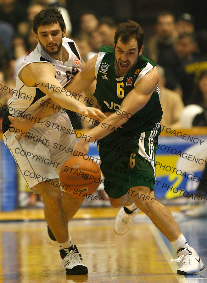 Kosarka, Euroleague season 2007-08.Partizan Vs. Panathinaikos (Athens).Petar Bozic, left and Vassilis Spanoulis.Beograd, 03.19.2008..foto: Srdjan Stevanovic