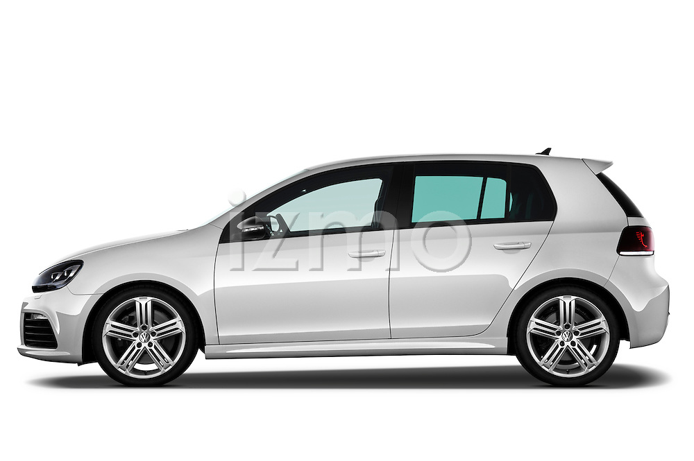 Driver side profile view of 2011 Volkswagen Golf R 5 Door Hatchback Stock Photo