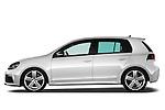 Driver side profile view of 2011 Volkswagen Golf R 5 Door Hatchback Stock Photo