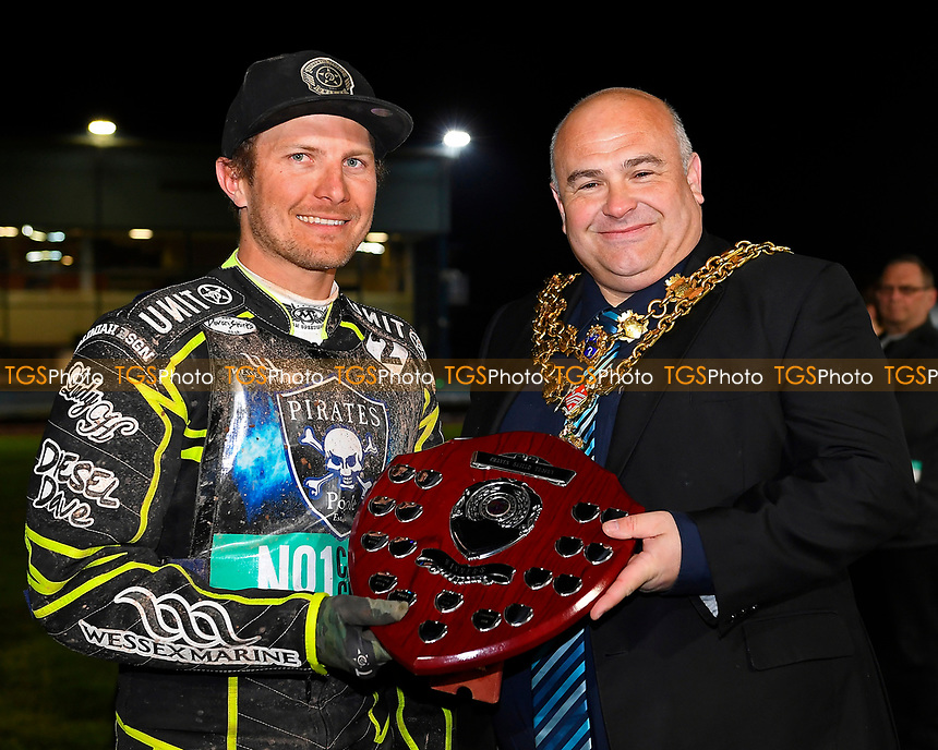 Josh Grajczonek of Poole Pirates receives the Rider of the night from The Mayor of Poole during Poole Pirates vs King's Lynn Stars, SGB Premiership Shield Speedway at The Stadium on 11th April 2019