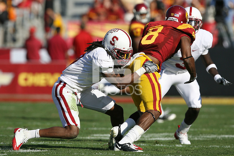 LOS ANGELES, CA - NOVEMBER 14:  Richard Sherman of the Stanford Cardinal during Stanford's 55-21 win over the USC Trojans on November 14, 2009 at the Los Angeles Coliseum Stadium in Los Angeles, California.