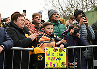 1st January 2020; Vicarage Road, Watford, Hertfordshire, England; English Premier League Football, Watford versus Wolverhampton Wanderers; Young Wolves fan cheers his team's arrival - Strictly Editorial Use Only. No use with unauthorized audio, video, data, fixture lists, club/league logos or 'live' services. Online in-match use limited to 120 images, no video emulation. No use in betting, games or single club/league/player publications
