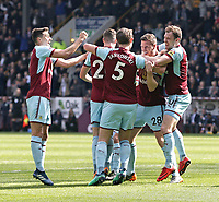 Kevin Long (2nd right) celebrates scoring his side's second goal with team-mates <br /> <br /> Photographer Rich Linley/CameraSport<br /> <br /> The Premier League - Burnley v Leicester City - Saturday 14th April 2018 - Turf Moor - Burnley<br /> <br /> World Copyright &copy; 2018 CameraSport. All rights reserved. 43 Linden Ave. Countesthorpe. Leicester. England. LE8 5PG - Tel: +44 (0) 116 277 4147 - admin@camerasport.com - www.camerasport.com