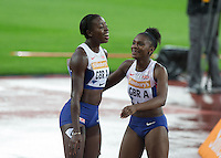 Desiree Henry (left) and Dina Asher-Smith of GBR after coming 3rd in the 4x100m during the Sainsburys Anniversary Games at the Olympic Park, London, England on 24 July 2015. Photo by Andy Rowland.
