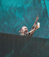 David Guetta takes photos of the crowd as he performs during The New Look Wireless Music Festival at Finsbury Park, London, England on Sunday 05 July 2015. Photo by Andy Rowland.